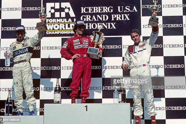 Ricardo Patrese Alain Prost Eddie Cheever Grand Prix of the United States Phoenix street circuit June 4 1989