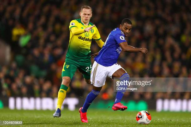 Ricardo Pereira of Leicester City and Ondrej Duda of Norwich City in action during the Premier League match between Norwich City and Leicester City...
