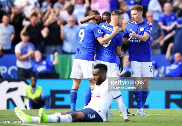 Ricardo Pereira of Leicester City celebrates after scoring his team's first goal with team mates Jamie Vardy James Maddison and Harvey Barnes during...