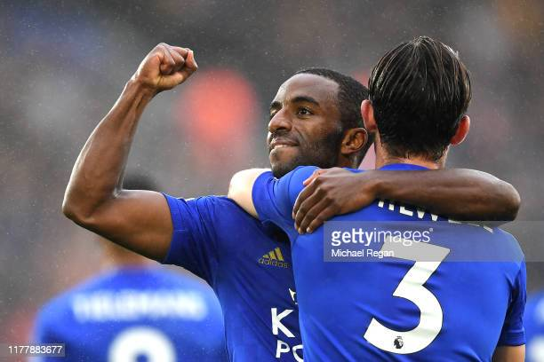 Ricardo Pereira of Leicester City celebrates after scoring his team's first goal with Ben Chilwell of Leicester City during the Premier League match...