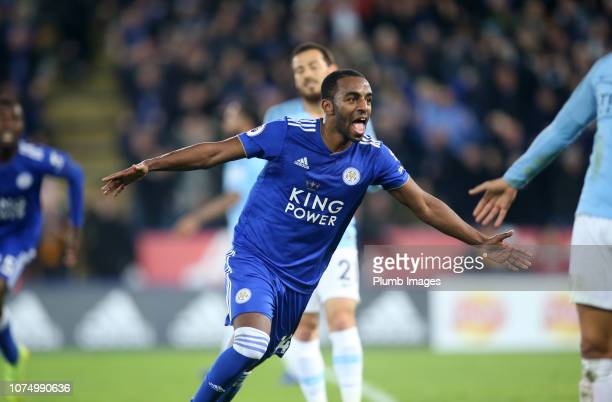 Ricardo Pereira of Leicester City celebrates after scoring to make it 21 during the Premier League match between Leicester City and Manchester City...