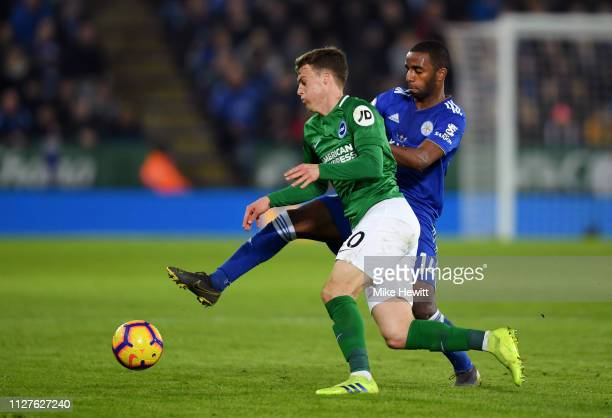 Ricardo Pereira of Leicester City challenges Solly March of Brighton and Hove Albion during the Premier League match between Leicester City and...