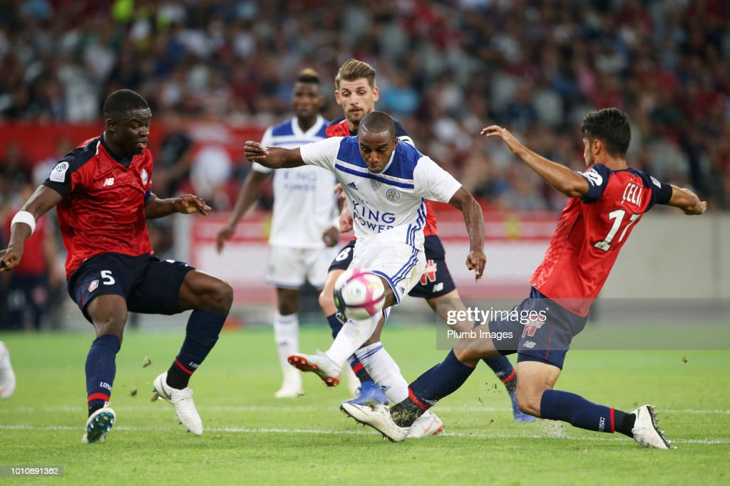 Ricardo Pereira of Leicester City gets a shot off under pressure during the pre-season friendly match between Lille and Leicester City at Stade Pierre Mauroy on August 4, 2018 in Lille, France.