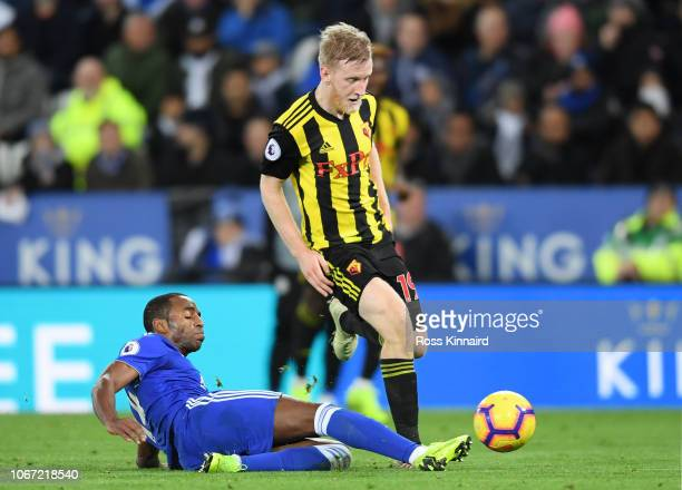 Ricardo Pereira of Leicester City tackles Will Hughes of Watford during the Premier League match between Leicester City and Watford FC at The King...