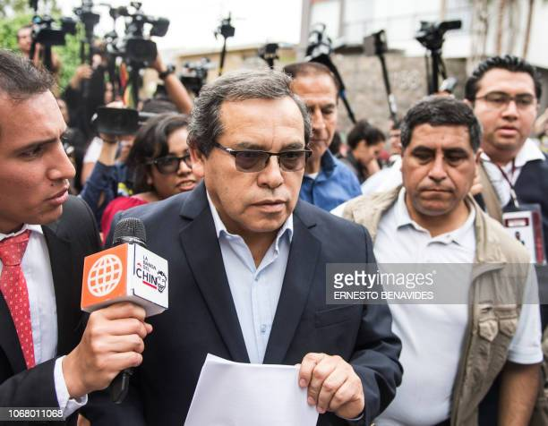 Ricardo Pinedo the personal secretary of former Peruvian president Alan Garcia speaks with the press following Uruguay's rejection of asylum request...