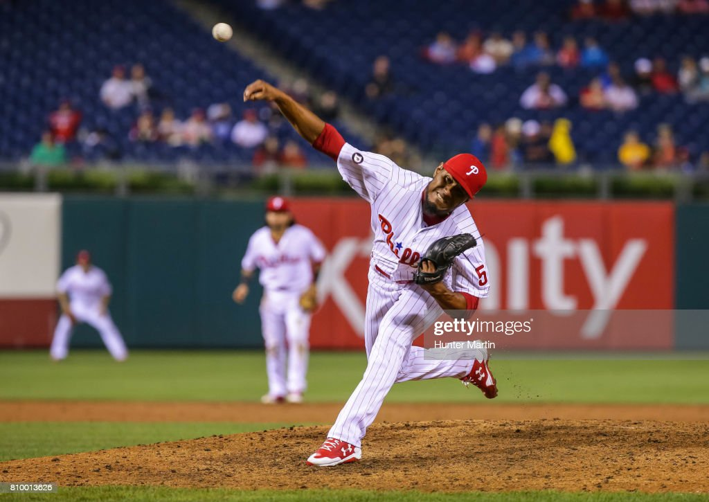 Ricardo Pinto #51 of the Philadelphia Phillies throws a pitch in the eighth inning during a game against the Pittsburgh Pirates at Citizens Bank Park on July 6, 2017 in Philadelphia, Pennsylvania. The Pirates won 6-3.