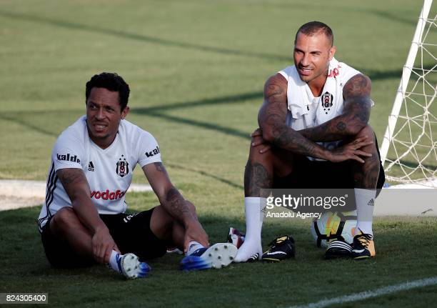Ricardo Quaresma and Adriano Correia of Besiktas are seen during a training session at Marbella Football Center within preparations of Besiktas ahead...
