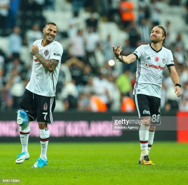Ricardo Quaresma and Caner Erkin of Besiktas gesture during the Turkish Super Lig soccer match between Besiktas JK and Atiker Konyaspor at Vodafone...