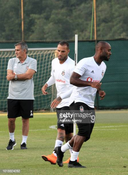 Ricardo Quaresma and Vagner Love of Besiktas attend a training session ahead of the UEFA Europa League 3rd Qualifying Round first leg match between...