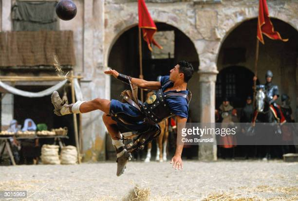Ricardo Quaresma attempts an overhead kick during the making of the Pepsi football commercial 'Pepsi Foot Battle' held on July 4, 2003 in Madrid,...