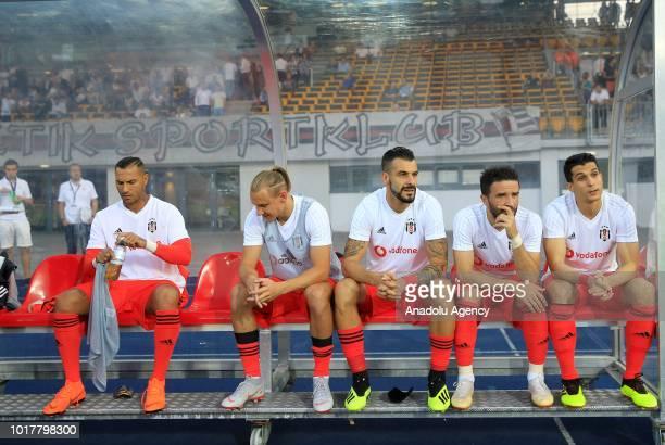 Ricardo Quaresma Domagoj Vida Alvaro Negredo Gokhan Gonul and Necip Uysal of Besiktas are seen on the bench during the UEFA Europa League 3rd...
