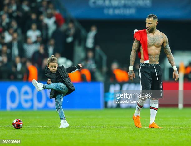 Ricardo Quaresma of Besiktas and his son tour the pitch after the UEFA Champions League Round 16 return match between Besiktas and FC Bayern Munich...