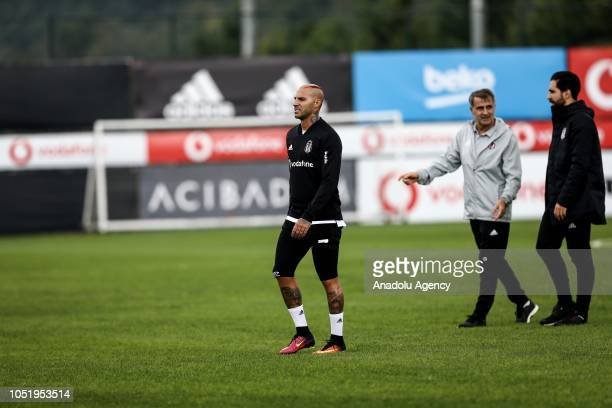 Ricardo Quaresma of Besiktas attends a training session ahead of the Turkish Super Lig week 9 soccer match against Goztepe at Nevzat Demir facilities...