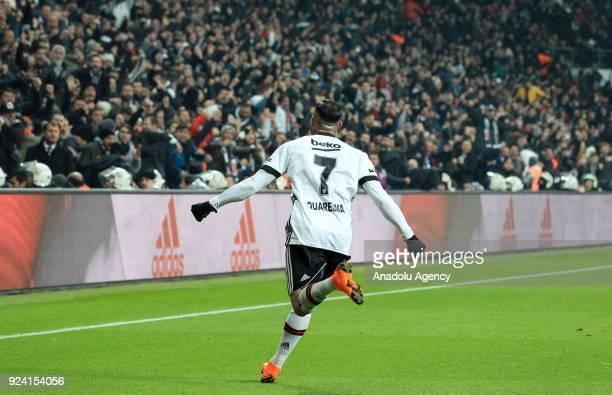 Ricardo Quaresma of Besiktas celebrates after scoring a goal during a Turkish Super Lig soccer match between Besiktas and Fenerbahce at Vodafone Park...
