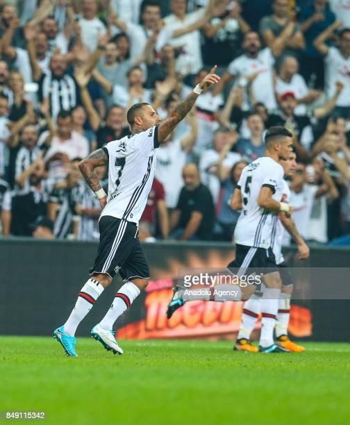 Ricardo Quaresma of Besiktas celebrates after scoring a goal during the Turkish Super Lig soccer match between Besiktas JK and Atiker Konyaspor at...