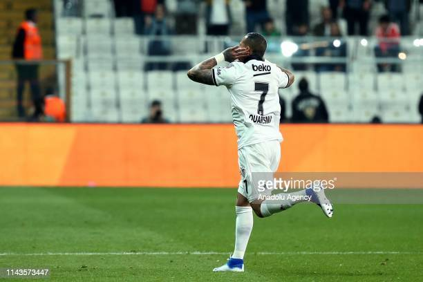 Ricardo Quaresma of Besiktas celebrates his goal during Turkish Super Lig soccer match between Besiktas and Aytemiz Alanyaspor at Vodafone Park in...