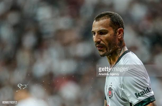 Ricardo Quaresma of Besiktas gestures during a Turkish Super Lig soccer match between Besiktas JK and Bursaspor at Vodafone Park in Istanbul Turkey...