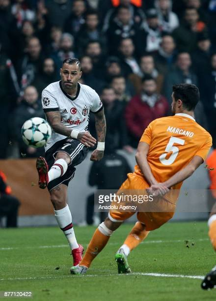 Ricardo Quaresma of Besiktas in action against Ivan Marcano of Porto during the UEFA Champions League Group G soccer match between Besiktas and Porto...