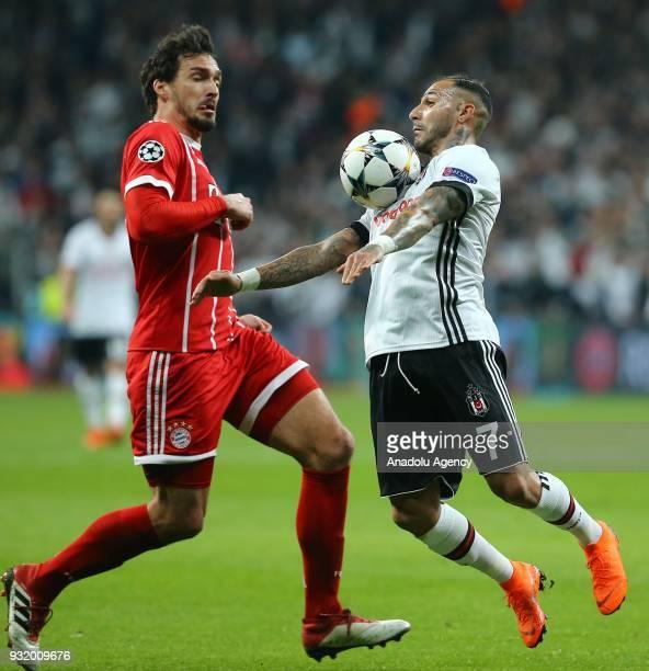 Ricardo Quaresma of Besiktas in action against Javi Martinez of Bayern Munich during the UEFA Champions League Round 16 return match between Besiktas...