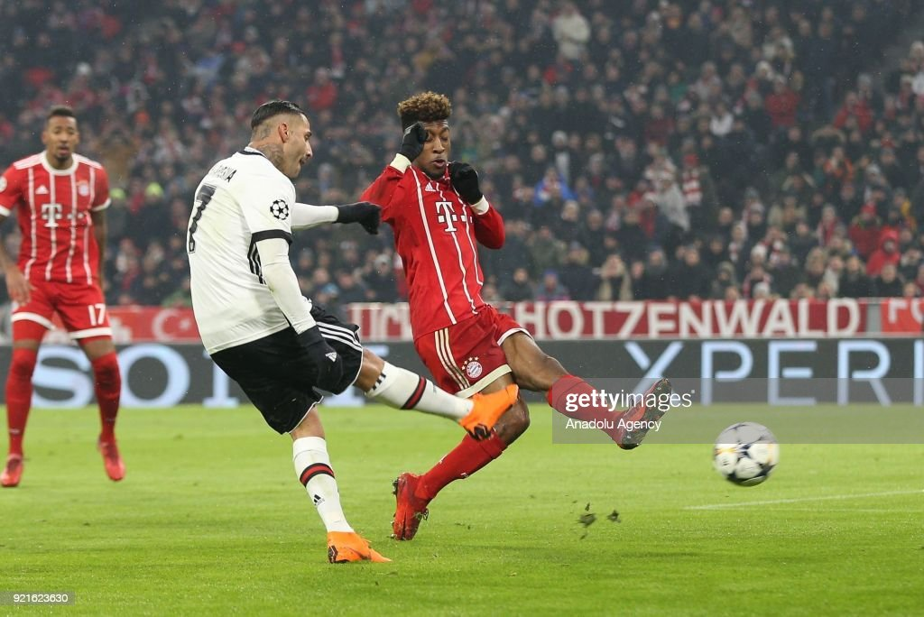 Ricardo Quaresma (L) of Besiktas in action against Kingsley Coman (R) of FC Bayern Munich during the UEFA Champions League Round of 16 soccer match between FC Bayern Munich and Besiktas at the Allianz Arena in Munich, Germany, on February 20, 2018.