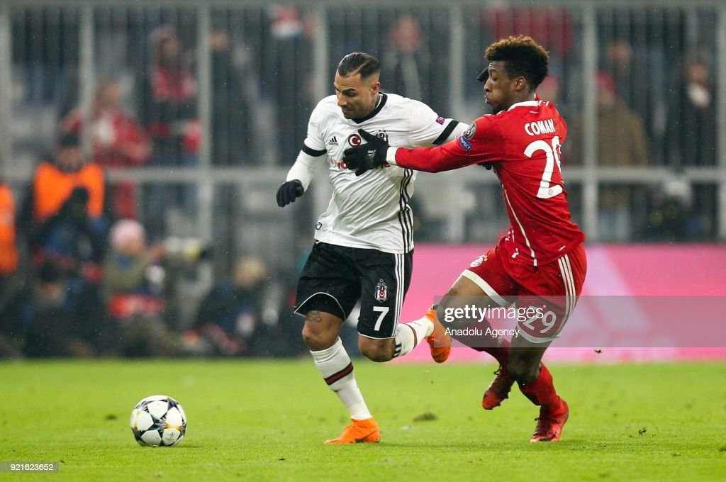Ricardo Quaresma of Besiktas (L) in action against Kingsley Coman of Bayern Munich during the UEFA Champions League Round of 16 soccer match between FC Bayern Munich and Besiktas at the Allianz Arena in Munich, Germany, on February 20, 2018.