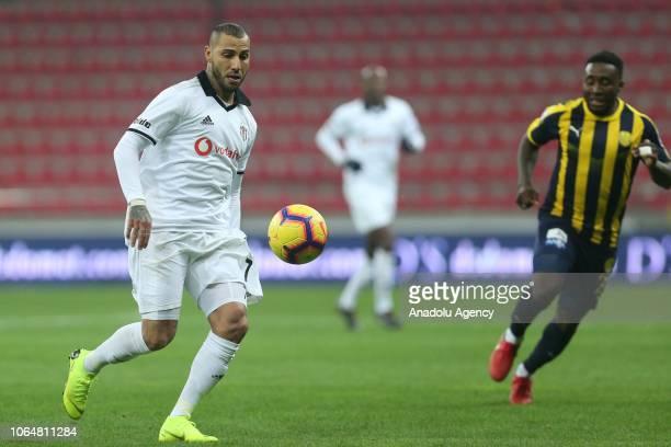 Ricardo Quaresma of Besiktas in action against Thievy Bifouma of MKE Ankaragucu during a Turkish Super Lig soccer match between MKE Ankaragucu and...