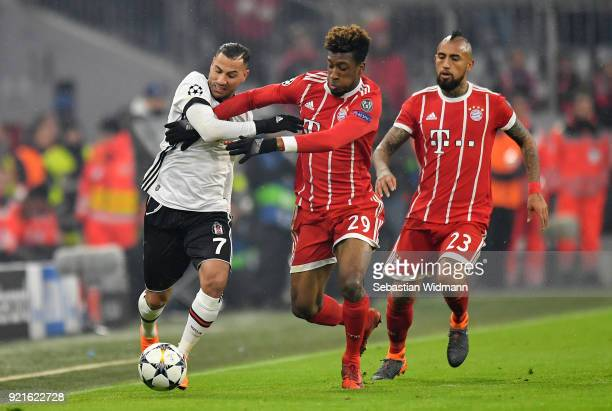 Ricardo Quaresma of Besiktas is challenged by Kingsley Coman of Bayern Muenchen during the UEFA Champions League Round of 16 First Leg match between...