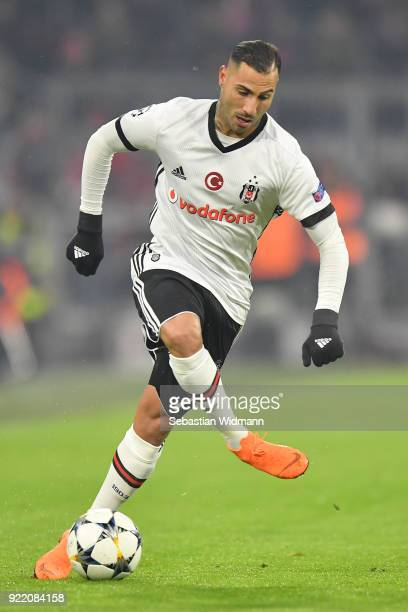 Ricardo Quaresma of Besiktas plays the ball during the UEFA Champions League Round of 16 First Leg match between Bayern Muenchen and Besiktas at...