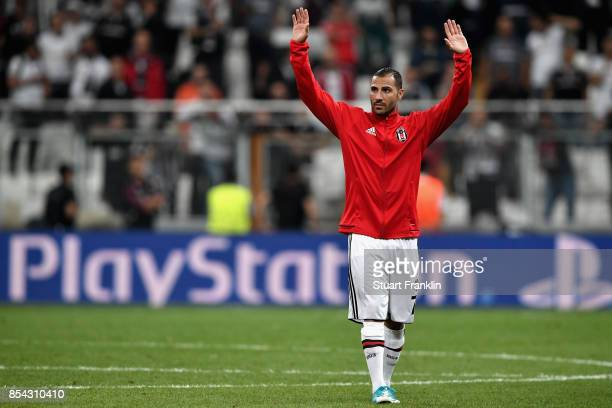 Ricardo Quaresma of Besiktas salutes the crowd after the UEFA Champions League Group G match between Besiktas and RB Leipzig at Besiktas Park on...