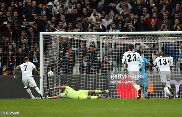 Ricardo Quaresma of Besiktas scores a goal during the UEFA Champions League football match between Besiktas and Napoli at the Vodafone Arena in...