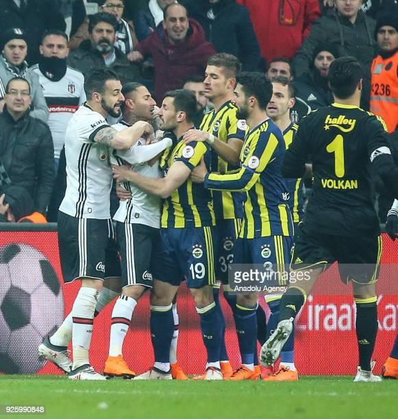 Ricardo Quaresma of Besiktas sees a red card after arguing with Josef de Souza of Fenerbahce during a Ziraat Turkish Cup semi final first leg soccer...
