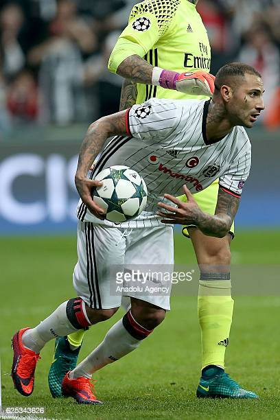 Ricardo Quaresma of Besiktas shoots a penalty kick during the UEFA Champions League Group B football match between Besiktas and Benfica at Vodafone...