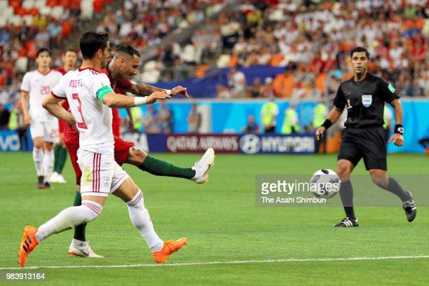 Ricardo Quaresma of Poretugal scores the opening goal during the 2018 FIFA World Cup Russia group B match between Iran and Portugal at Mordovia Arena...