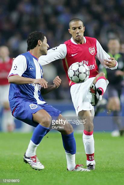 Ricardo Quaresma of Porto in action against Gael Clichy of Arsenal during the UEFA Champions League Group G match between FC Porto and Arsenal at...