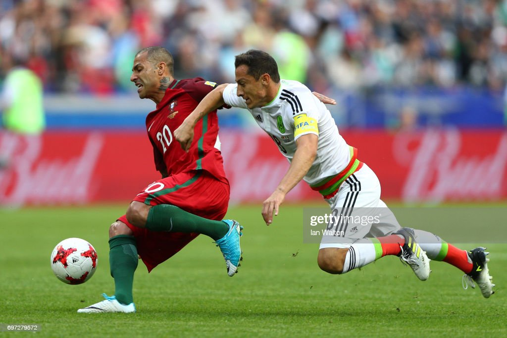 Ricardo Quaresma of Portugal and Andres Guardado of Mexico battle for possession during the FIFA Confederations Cup Russia 2017 Group A match between Portugal and Mexico at Kazan Arena on June 18, 2017 in Kazan, Russia.