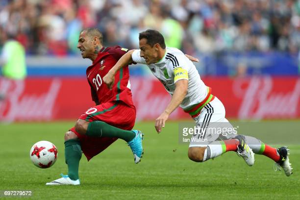 Ricardo Quaresma of Portugal and Andres Guardado of Mexico battle for possession during the FIFA Confederations Cup Russia 2017 Group A match between...