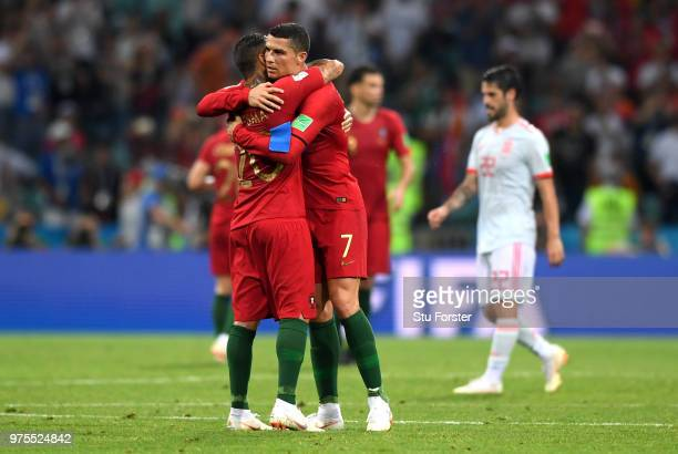 Ricardo Quaresma of Portugal and team mate Cristiano Ronaldo embrace following the 2018 FIFA World Cup Russia group B match between Portugal and...