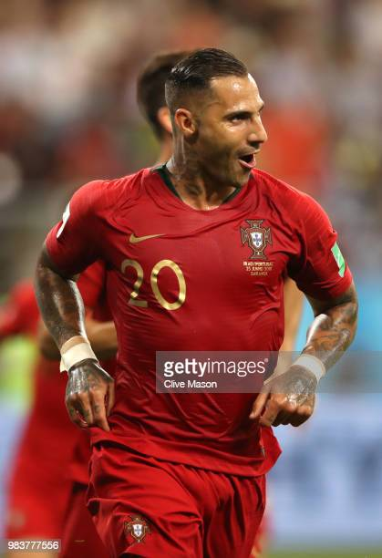 Ricardo Quaresma of Portugal celebrates after scoring his team's first goal during the 2018 FIFA World Cup Russia group B match between Iran and...