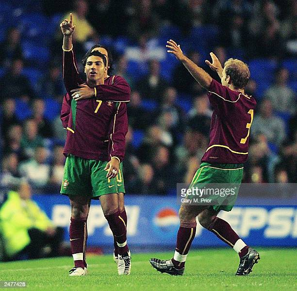 Ricardo Quaresma of Portugal celebrates after scoring the first goal during the Euro 2004 U21 Qualifying match between England U21 and Portugal U21...