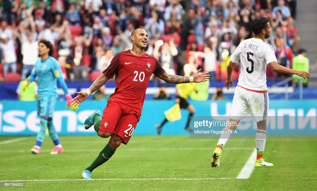 Ricardo Quaresma of Portugal celebrates scoring his sides first goal during the FIFA Confederations Cup Russia 2017 Group A match between Portugal and Mexico at Kazan Arena on June 18, 2017 in Kazan, Russia.