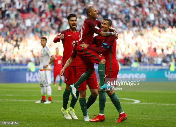 Ricardo Quaresma of Portugal celebrates scoring his sides first goal with Cristiano Ronaldo of Portugal during the FIFA Confederations Cup Russia...