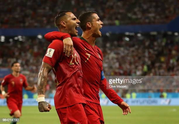Ricardo Quaresma of Portugal celebrates scoring his teams goal with Cristiano Ronaldo of Portugal during the 2018 FIFA World Cup Russia group B match...
