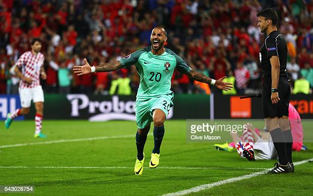 Ricardo Quaresma of Portugal celebrates scoring the opening goal during the UEFA EURO 2016 round of 16 match between Croatia and Portugal at Stade...