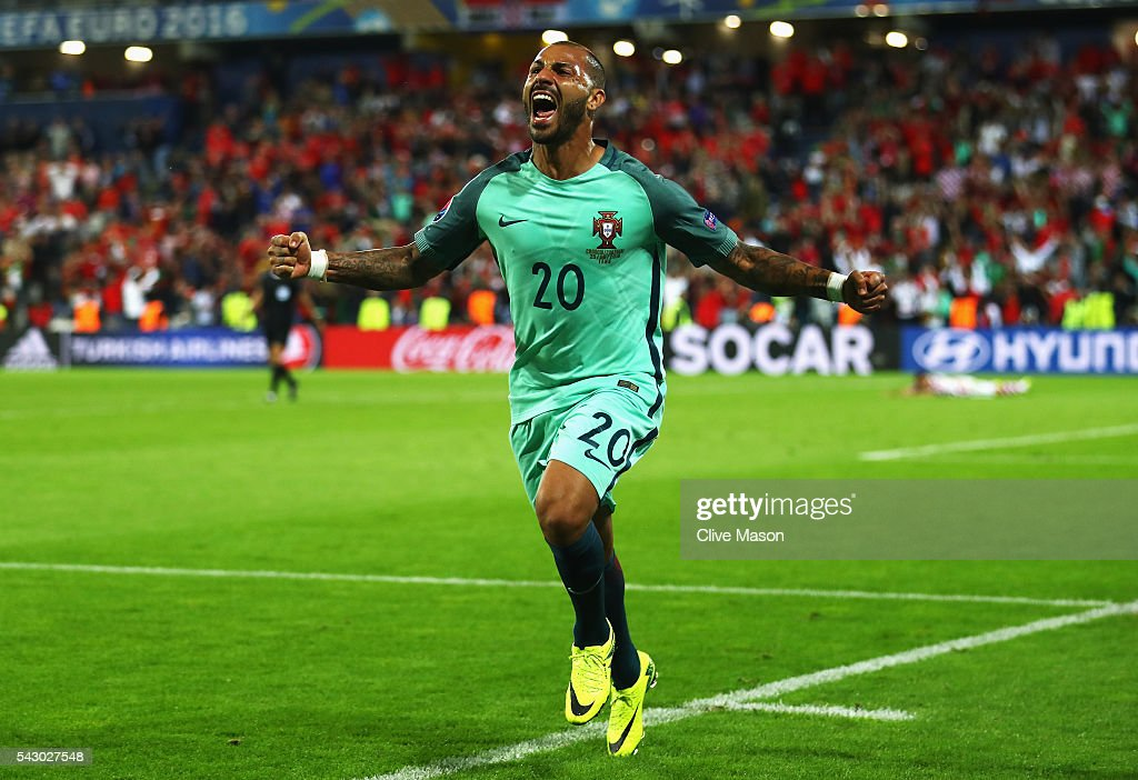 Ricardo Quaresma of Portugal celebrates scoring the opening goal during the UEFA EURO 2016 round of 16 match between Croatia and Portugal at Stade Bollaert-Delelis on June 25, 2016 in Lens, France.