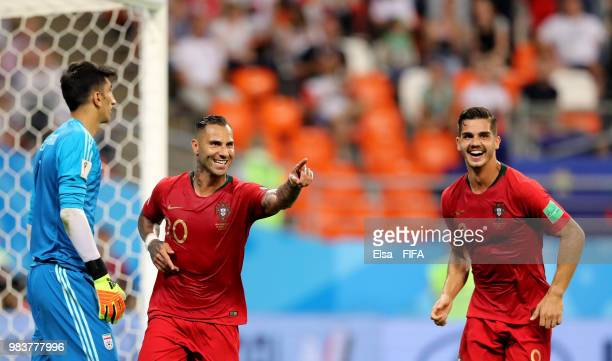 Ricardo Quaresma of Portugal celebrates with teammate Andre Silva after scoring his team's first goal during the 2018 FIFA World Cup Russia group B...