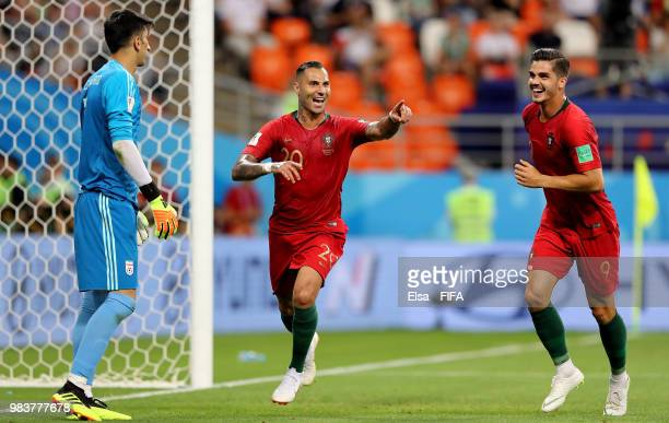 Ricardo Quaresma of Portugal celebrates with teammate Cristiano Ronaldo after scoring his team's first goal during the 2018 FIFA World Cup Russia...