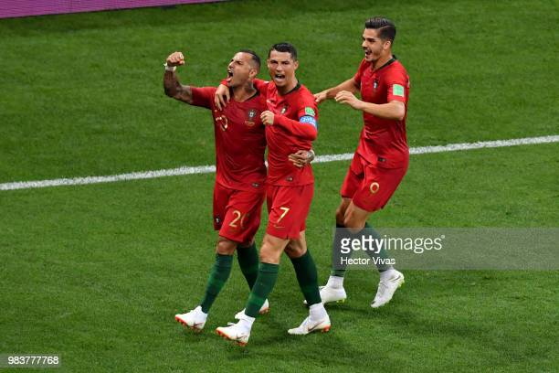 Ricardo Quaresma of Portugal celebrates with teammates Cristiano Ronaldo and Andre Silva after scoring his team's first goal during the 2018 FIFA...