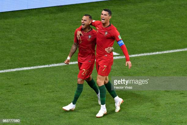 Ricardo Quaresma of Portugal celebrates with teanmmate Cristiano Ronaldo after scoring his team's first goal during the 2018 FIFA World Cup Russia...