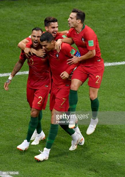 Ricardo Quaresma of Portugal celebrates with teanmmates Cristiano Ronaldo Andre Silva and Cedric after scoring his team's first goal during the 2018...