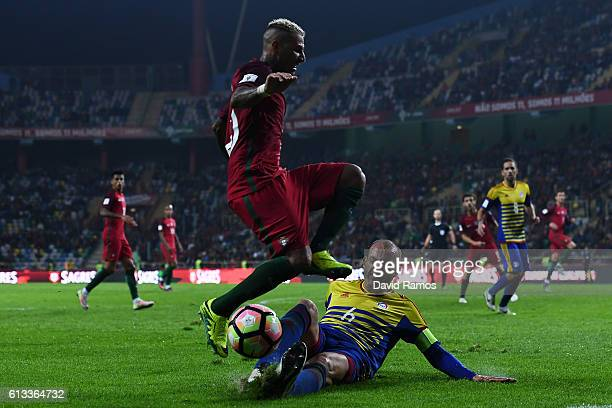 Ricardo Quaresma of Portugal competes for the ball with Ildefons Lima of Andorra during the FIFA 2018 World Cup Qualifier between Portugal and...